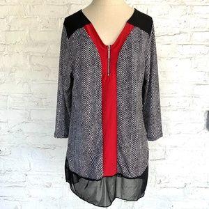 Tunic blouse black white chevron stripes red shirt